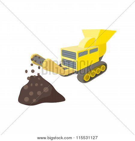 Coal conveyor crusher cartoon icon