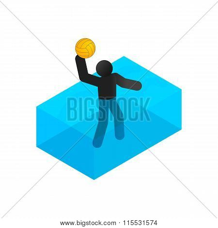 Swimmer playing water polo isometric 3d icon