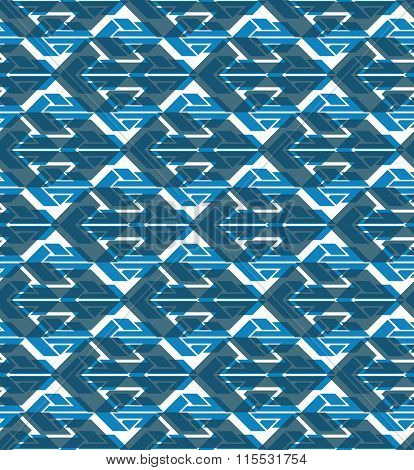 Blue Geometric Seamless Layered Composition Created With Arrows, Blue Symmetric Endless Vector