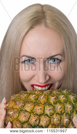 Nice Girl Dabbles With Pineapple