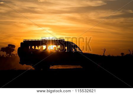 Safari car in sunset light