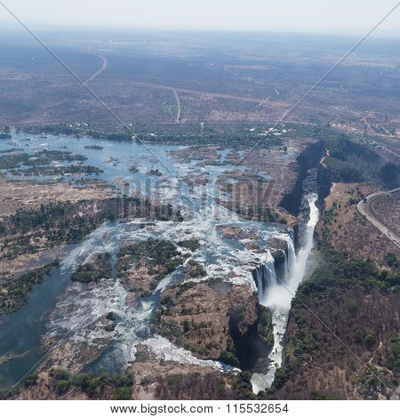 Victoria Falls from above in October