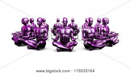Man Sitting in the Lotus Position in Yoga as Art