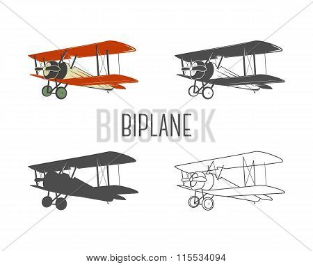 Set of vintage aircraft design elements. Retro Biplanes in color, line, silhouette, monochrome desig
