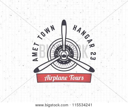 Airplane emblem. Biplane label. Retro Plane propeller badge, design elements. Vintage prints for t s