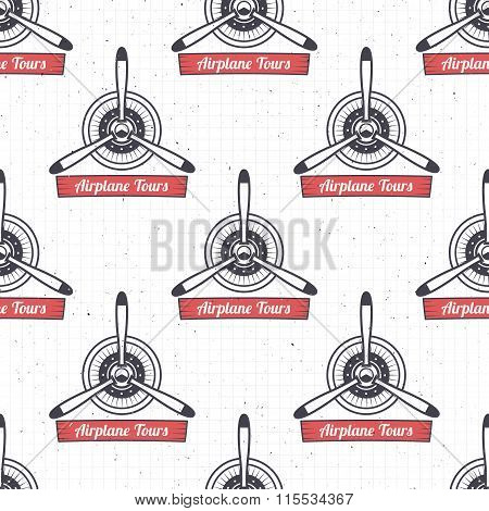 Vintage airplane tour pattern. Biplane propellers seamless background with ribbon. Retro Plane wallp