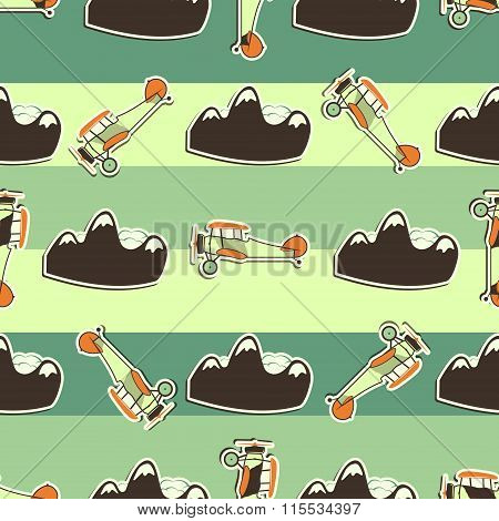 Cute airplane pattern. Doodle style. Old Biplanes seamless background with cartoon planes, mountain.