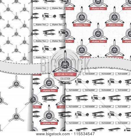 Vintage airplane patterns set. Biplane seamless backgrounds. Retro Plane wallpaper and design elemen