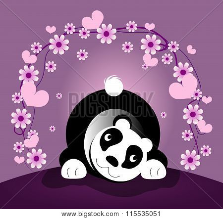 Panda Bear With Flower Decoration