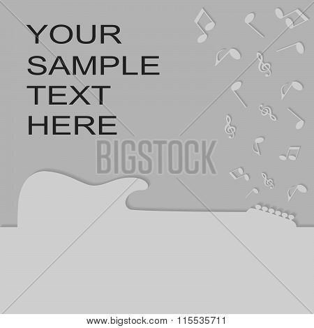 Guitar Silhouette On A Advertising Card