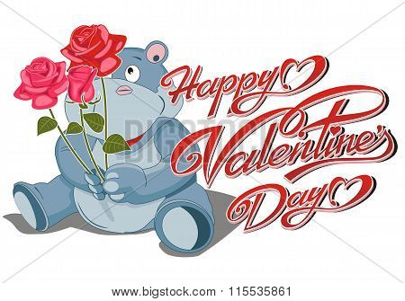 Happy Valentine's Day Card - The Hippopotamus With A Bouquet Of Roses