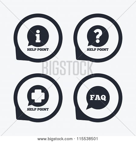 Help point icons. Question, information symbol.