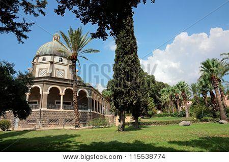 Catholic chapel on Mount of Beatitudes near Tabgha at the Sea of Galilee, Israel
