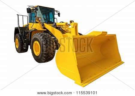Loader Excavator Construction Machinery Equipment Isolated With Clipping Path