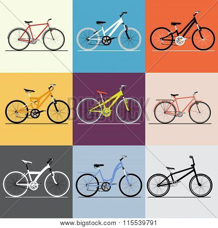 Vector bicycles set. Travel and and sport theme