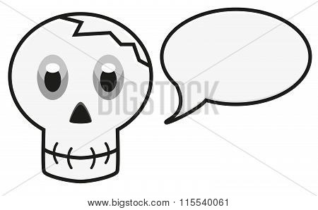 Isolated Illustration Of Skull With Speech Bubble