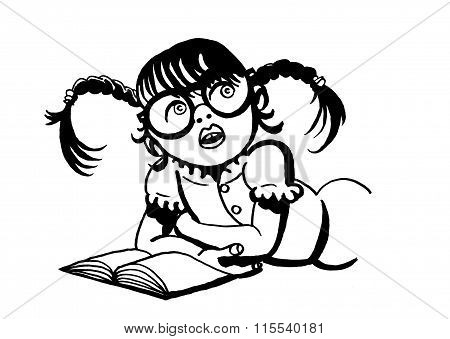 Girl with glasses and with pigtails reading a book