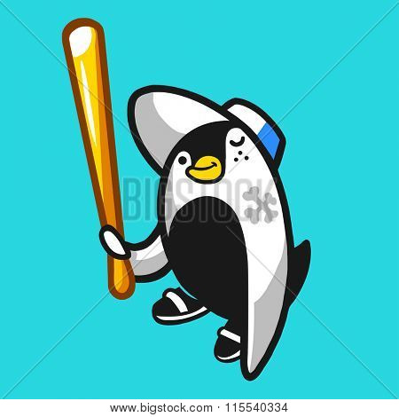 Comic penguin hooligan character holding a baseball bat. Vector illustration.