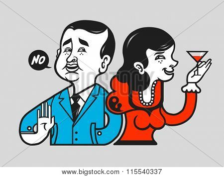 Image of an abstaining man with his wife at the party. Gesture of denial. Vector illustration.