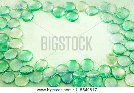 Green Glass Drops Aqua Background