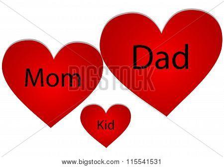 Family Of Three Hearts