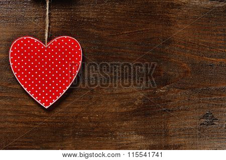 Red Heart On Wooden Background - Love Concept