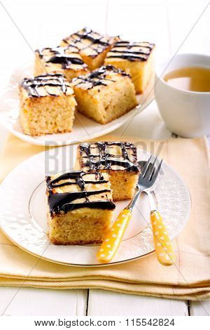 Cream And Chocolate Glaze Topping Blondie