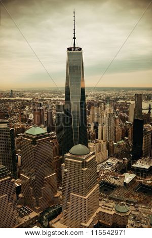 NEW YORK CITY- JAN 20: One World Trade Center aerial view on January 20, 2014 in New York City. It is the 4th highest building in the world.