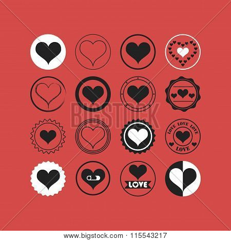 Black and white heart symbols icons set on coral background