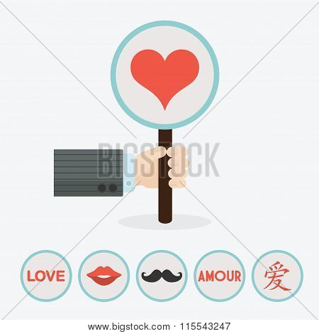 Male hand holding vertical circle paddle stick and cute red heart symbol - with extra red lips, must