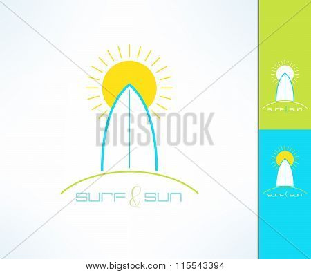Vector surfing company label logo made in modern clean and bright design. Surf and sun tshirt print.