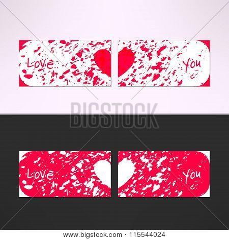 Vector valentines card with debris grunge background and love you text. Passion and romance design e