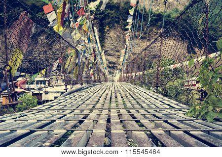 Metal suspension bridge.