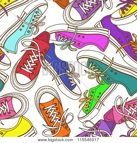 Seamless Pattern Of Sneakers.