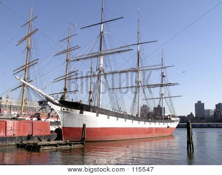 Historic Sailing Ship In Pier Of New York