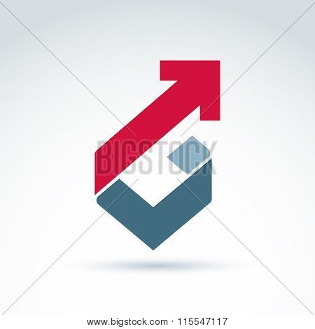 Vector Conceptual Corporate Design Element. Abstract Geometric Symbol, Checkmark And Red Arrow