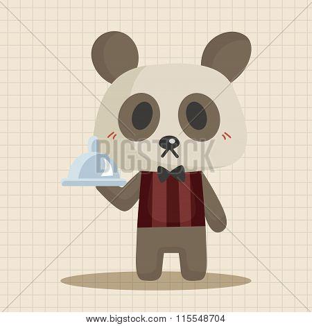 Animal Panda Waiter Cartoon Theme Elements