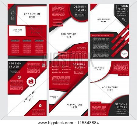Set of Vector design of the black and red flyers, cover, brochure, poster, report