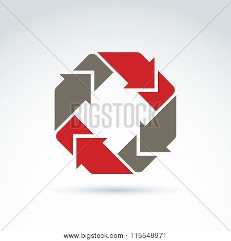 Vector Loop Sign, Circulation And Rotation Icon Isolated On White Background. Abstract Colorful