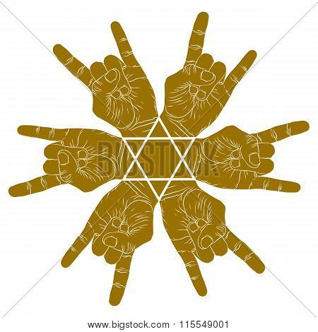 Six rock on hands abstract symbol with hexagonal star vector special emblem