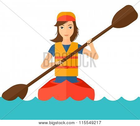 Woman riding in canoe.