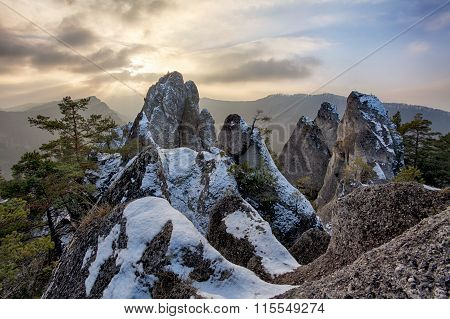 Moutain At Autumn Winter In Slovakia