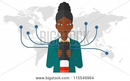 Woman using smartphone.