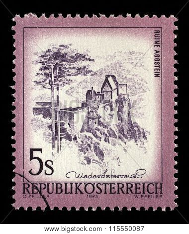 AUSTRIA - CIRCA 1973: a stamp printed in the Austria shows Aggstein Castle, Lower Austria, circa 1973