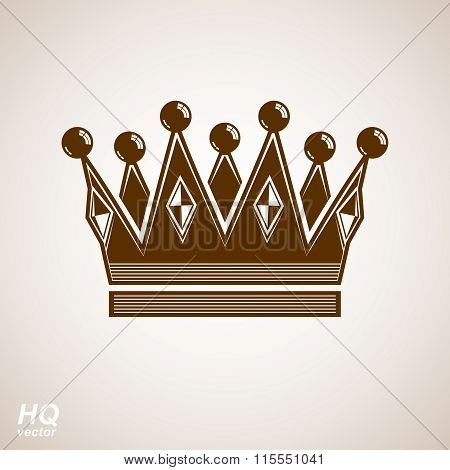 Royal design element regal icon. Vector majestic crown luxury stylized coronet illustration.