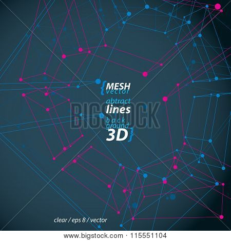 Clear Eps 8 Engineering Vector Illustration, Set Of 3D Mesh Symbols, Wireframe Parallelograms With C