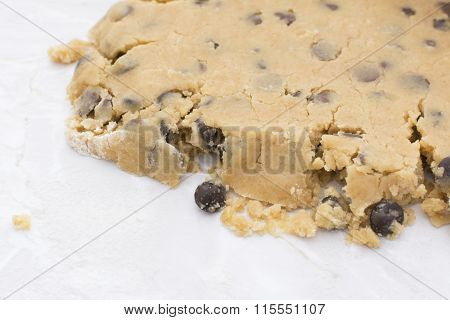 Close-up Of Crumbly Chocolate Chip Cookie Dough