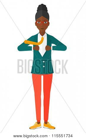 Woman taking off jacket.