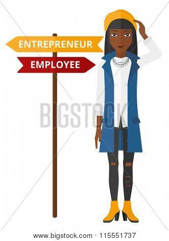Woman choosing career way.
