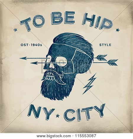 Poster Of Vintage Skull Hipster Label. Retro Old School Set. Vector Illustration With Typographic Fo